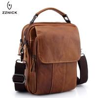 ZZNICK 2018 New Men Genuine Leather Messenger Bag Men Bag Wax Leather Crossbody Shoulder Bag Cowhide Men Business Bags Briefcase