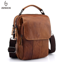 ZZNICK 2019 New Men Genuine Leather Messenger Bag Men Bag Wax Leather Crossbody Shoulder Bag Cowhide Men Business Bags Briefcase