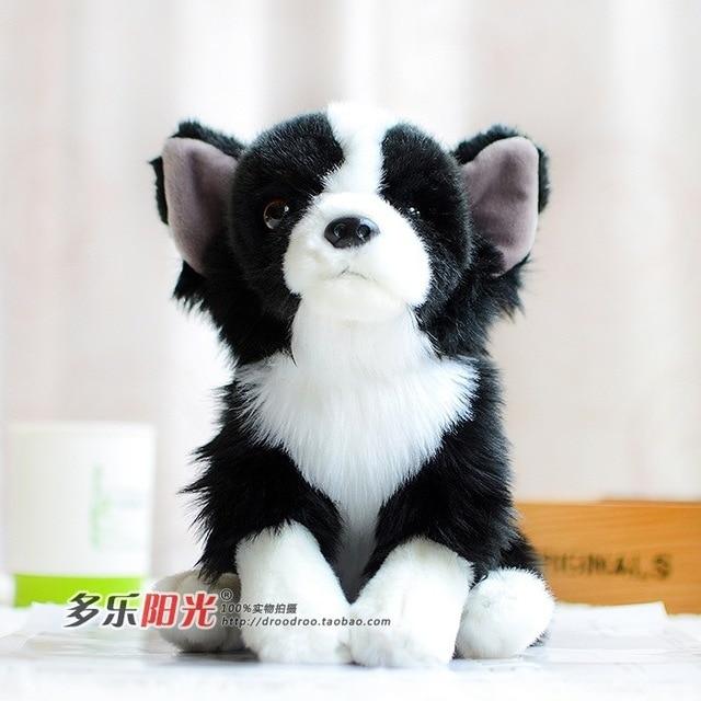 High Quality Free Shipping 26cm Cute Black White Dog Papillon