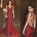 Sexy Long Evening Dress 2017 Sheer O-Neck Prom Gown Mermaid Party Dresses Red Vestidos de Fiesta Sequin Formal Robe de soiree
