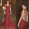 Sexy Vestido de Noite Longo 2017 Sheer O-Neck Vestido do baile de Finalistas Da Sereia Vestidos de festa Vermelho Vestidos de Fiesta Lantejoula Formal Robe de sarau