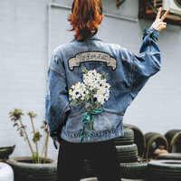 2019 otoño bordado flor vaquero abrigo suelto Mujer Denim Jeans Chaqueta Mujer Streetwear novio Tallas grandes