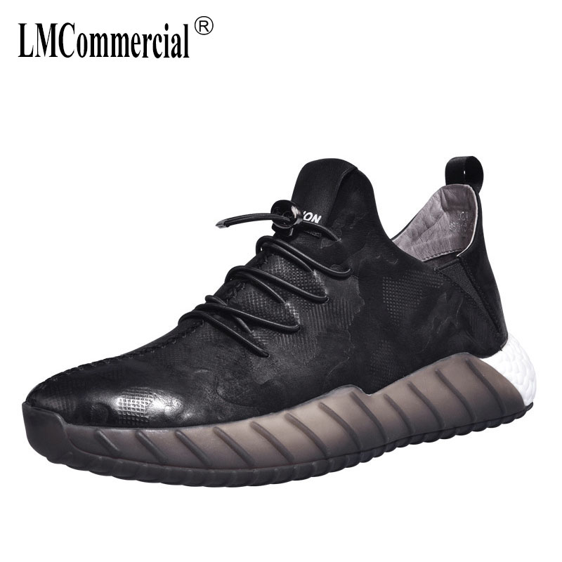 2018 new Korean version men's leather shoes spring autumn all-match cowhide British retro breathable sneaker casual shoes men men s shoes fall new casual men s leather comfortable korean version sub3147