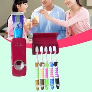 Image 2 - Ucuz banyo otomatik diş macunu dağıtıcı diş macunu sıkacağı duvar macun monte diş fırçası tutucu banyo aksesuarları