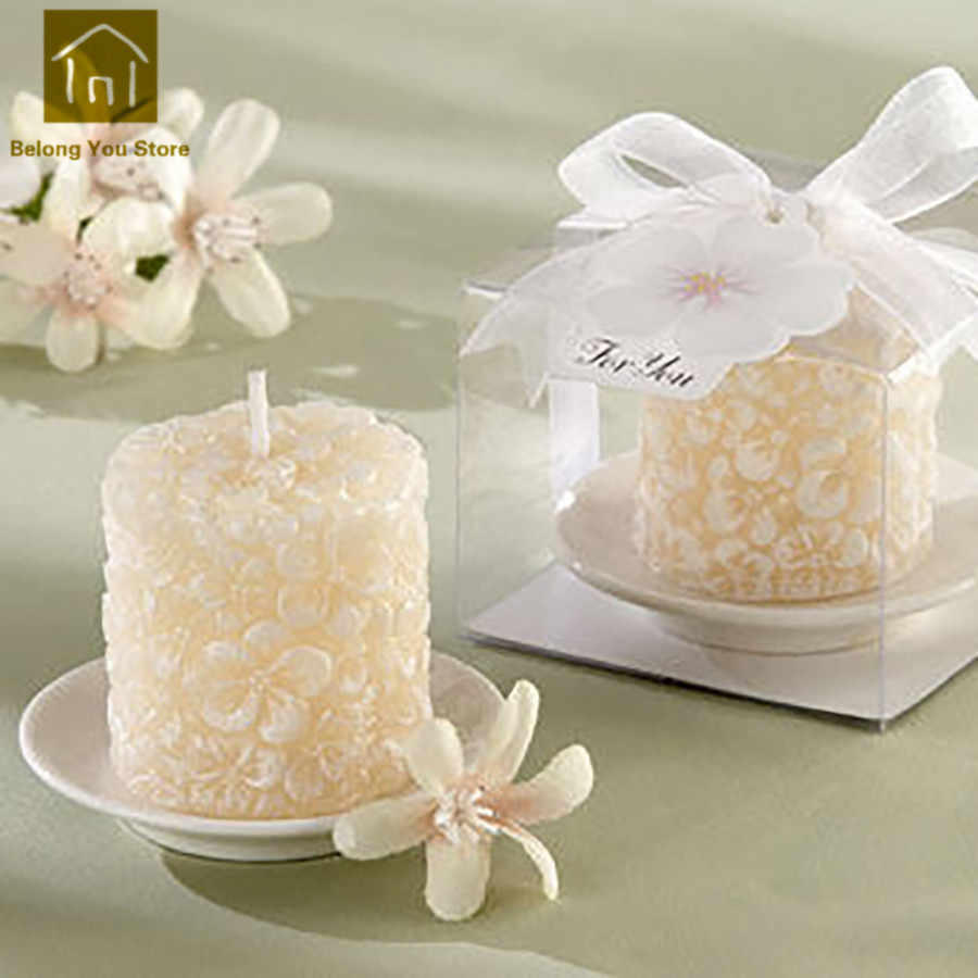 White Wedding Decoration Candles Craft Bougies D Coratives Wax Gift Candles Home Scented Candle Making Bougie Mariage JKK163