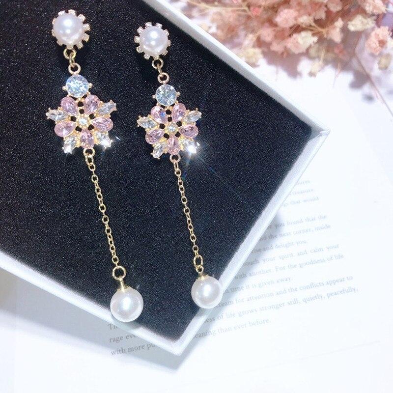 New-Temperament-Bling-Rhinestone-Flower-Long-Chain-Pearl-Pendant-Jewelry-Japanese-Korean-Style-Drop-Earrings-For (2)