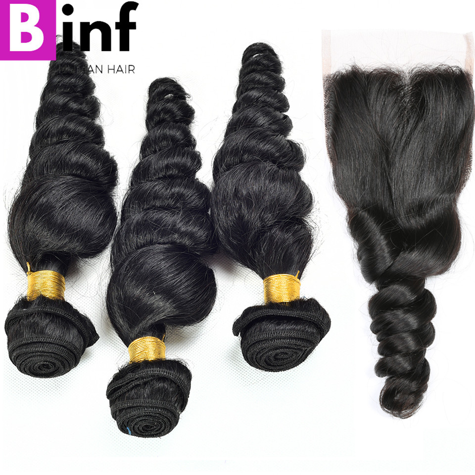 BINF  Malaysian Loose Wave Hair 3 Bundles With Closure 100% Human Hair Extension Free Shipping Natural Colour 1B Non Remy Hair