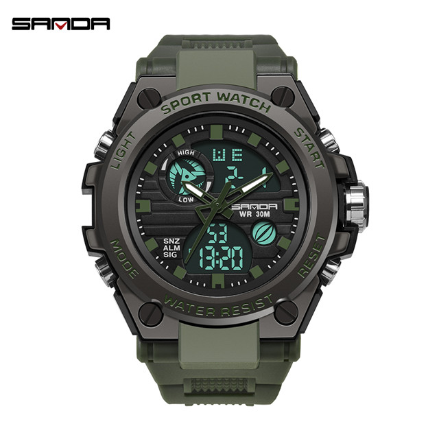 2019 new SANDA men's watch top brand luxury military sports watch men's waterproof S Shock digital watch relogio masculino