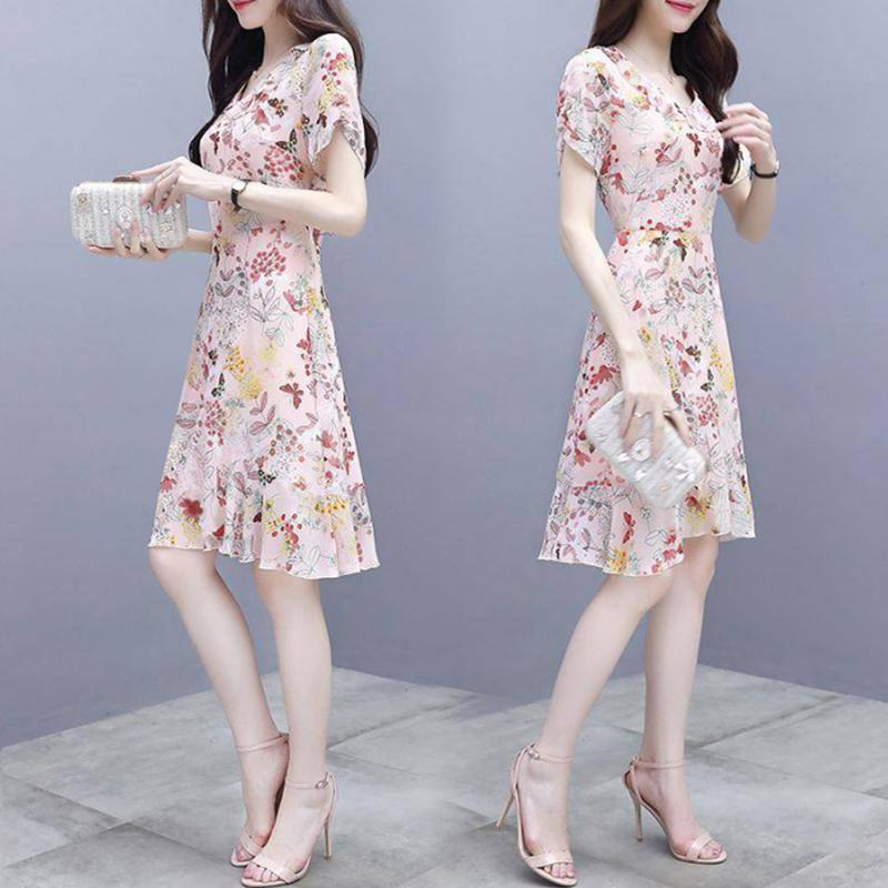 Yfashion Summer Women Fashion Elegant Slim Flower Printing Short Sleeve Dress Simple Natural Girl High Quality Dress 2019 in Dresses from Women 39 s Clothing