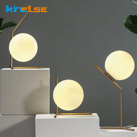 Moderne LED Tisch Lampe Schlafzimmer Schreibtisch Lampe Glas Ball Tisch Lampe Chrom Poliert Gold Nordic Schreibtisch Licht Wohnzimmer Boden nacht