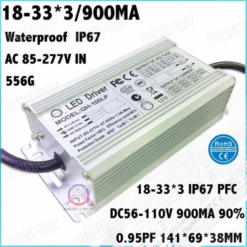 2 Pcs High PFC IP67 100W AC85 277V LED Driver 18 30Cx3B 900mA DC56 105V Constant