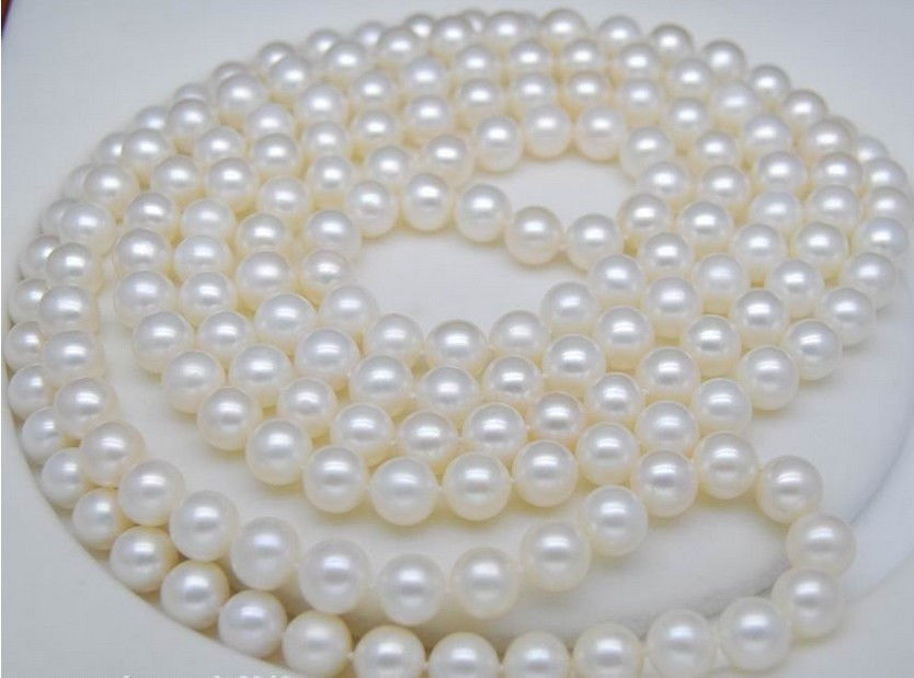 Natural 48 INCH AAA 7-8MM WHITE SOUTH SEA Round PEARL NECKLACE AAA 10X10 jewerly free shippingNatural 48 INCH AAA 7-8MM WHITE SOUTH SEA Round PEARL NECKLACE AAA 10X10 jewerly free shipping