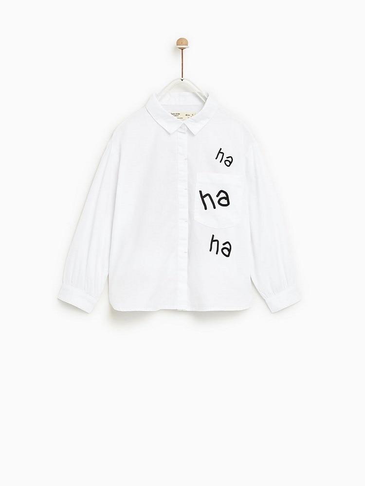 Mode Za Petite Fille Ha-ha-ha Lettre Dessin Animé Imprimé Chemisier