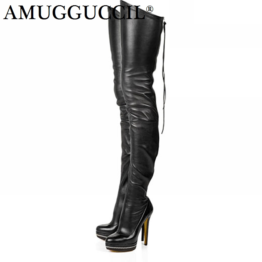 2018 New Plus Big Size 34-47 Black White Wine-red Zip Sexy Thigh High 14.5CM High Platform Over The Knee Autumn Women Boot X1660