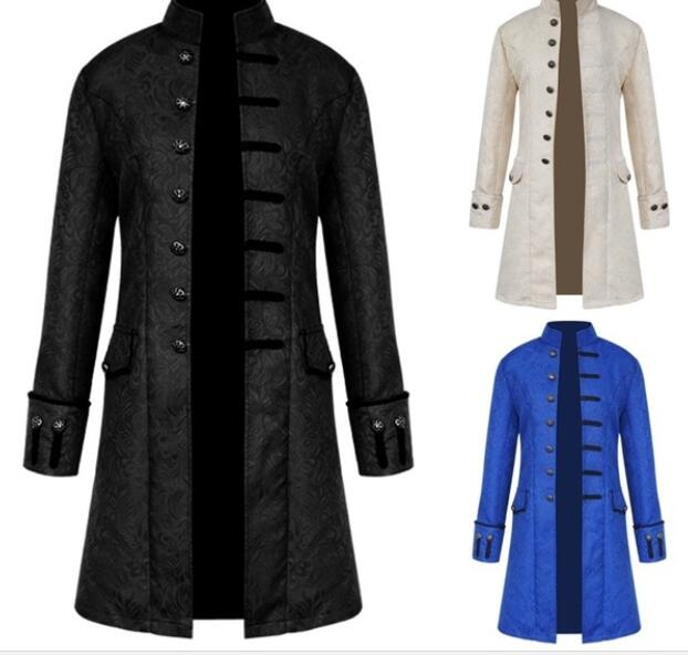 2 pcs  Men's Jacket Steampunk Retro Trench Coat/Vest Gothic Victorian Dress Uniform Medieval Windbreaker Coat/Vest costume