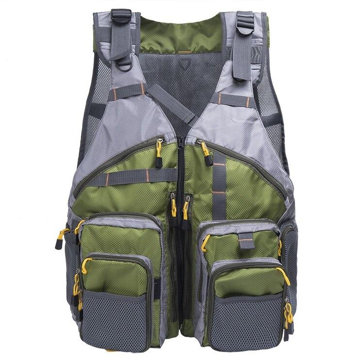 Livraison gratuite!!! Gilet de pêche à la mouche, gilet de pêche Design en maille sac à dos avec poches étanche taille réglable veste de poisson poitrine