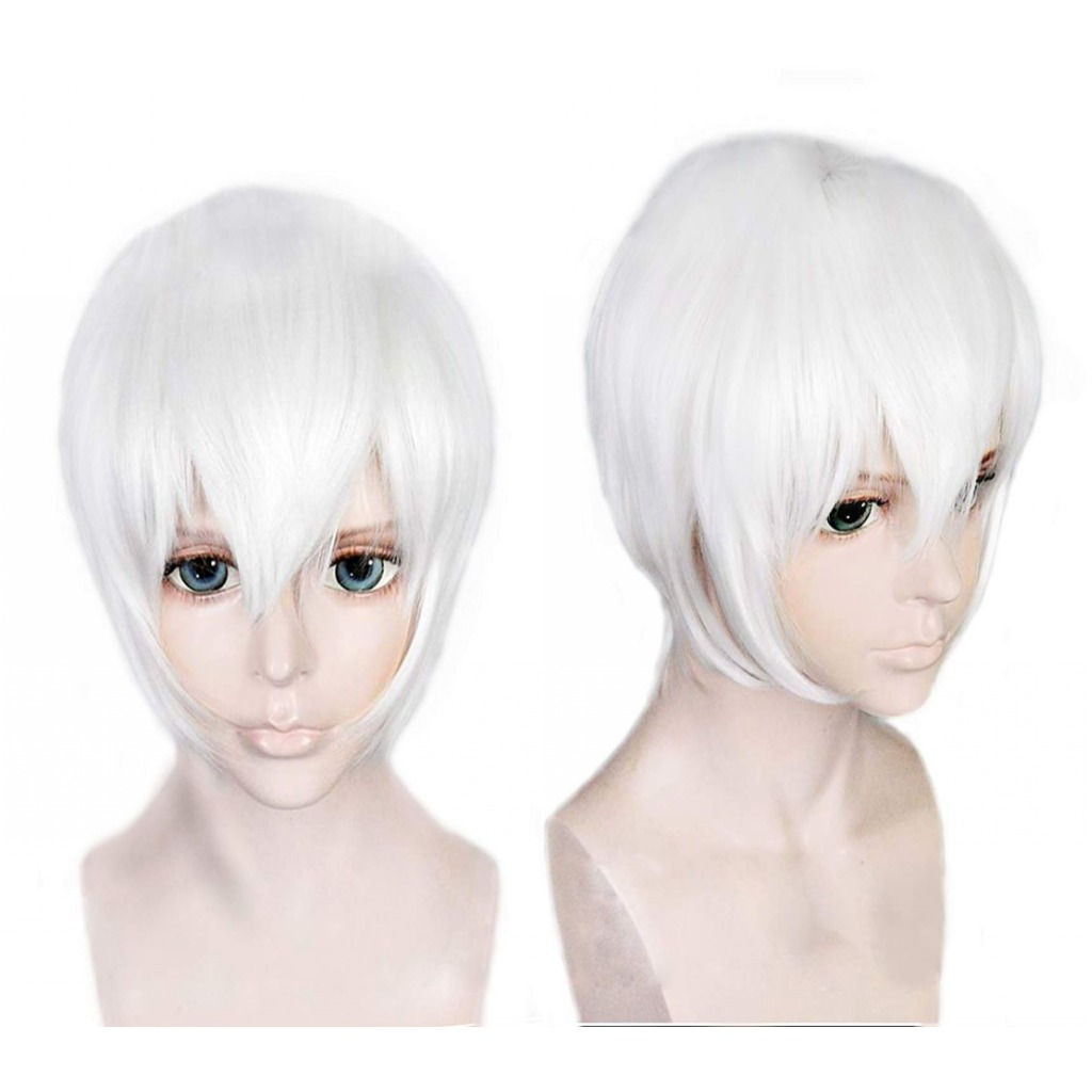 Adaptable Anilnc Short Nier:automata 9s Pure White Synthetic Anime Cosplay Hair Wigs High Quality Materials