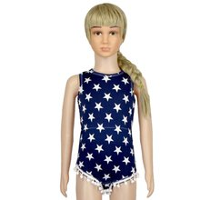 Baby Girl Sleeveless Stripe Star Printed Romper Infant Kids Summer Beach Clothes Jumpsuit #2698