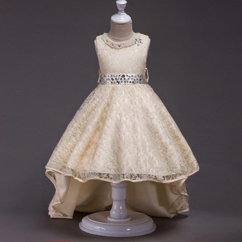 BOSTYED children girl lace princess sleeveless Stylish nail beads elegant Trailing girl dress long stylish women s plunging neck print lace up sleeveless dress