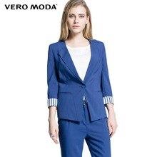 VERO MODA  горячая женские рабочая одежда конфеты цвет ниагара синий пальто сплошной куртки и пиджаки женский бизнес без воротника  314308018