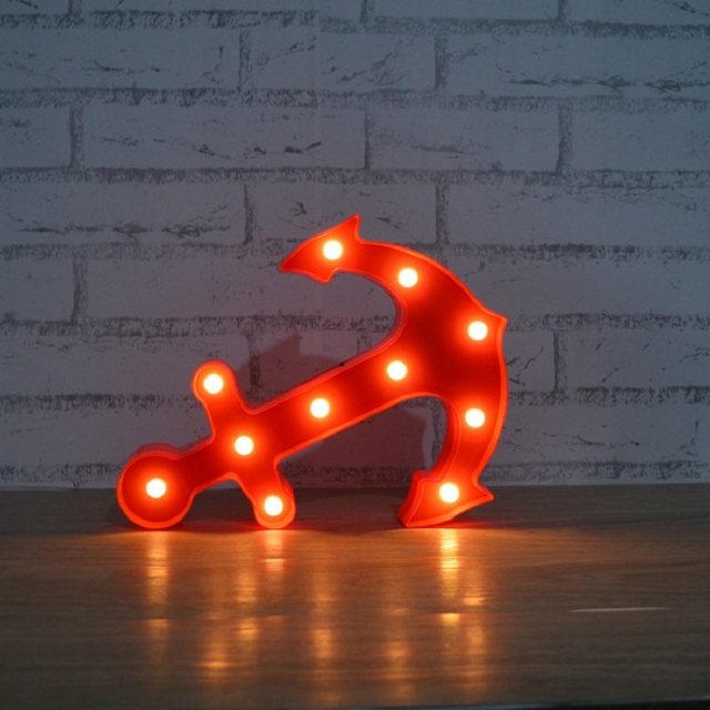 Creative Pirate Letter 3D Lamp Anchor Light Led Night Light Lamps For Home  Decoration Bedside Nightlight