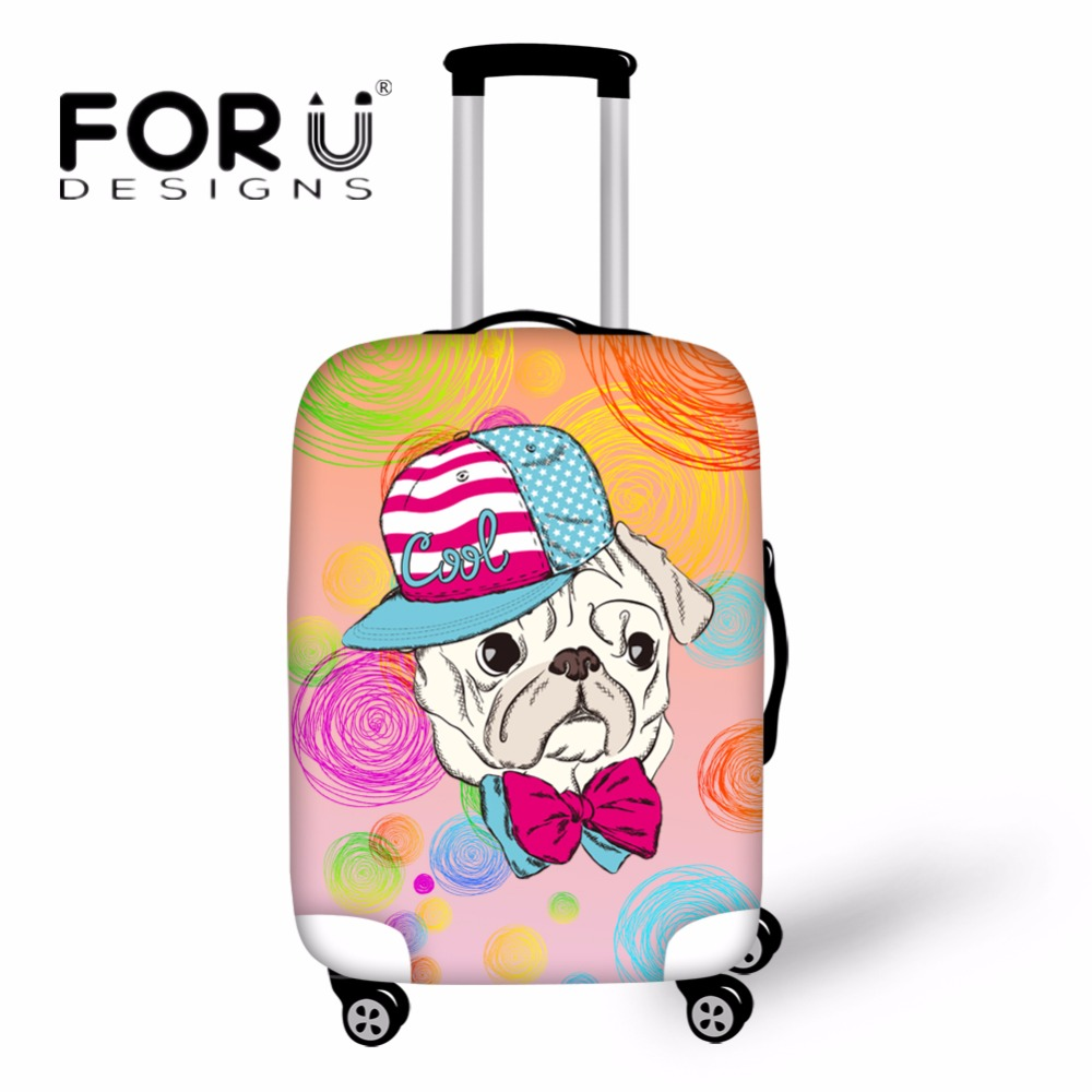 FORUDESIGNS Vintage Luggage Protective Cover Cute Cartoon Pet Dog Pattern Waterproof Rain Cover For 18-30 Inch Suitcase Case