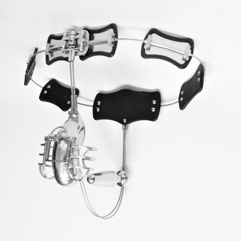 Latest Design Male Chastity Belt Stainless Steel Chastity Device With Scrotum Groove Cock Cage Anal Plug BDSM Sex Toys For Men цена
