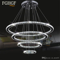 Modern Crystal Chandelier Light LED Diamond Ring Chandeliers Chrome Mirror Finish Stainless Steel Room Hanging Lamp