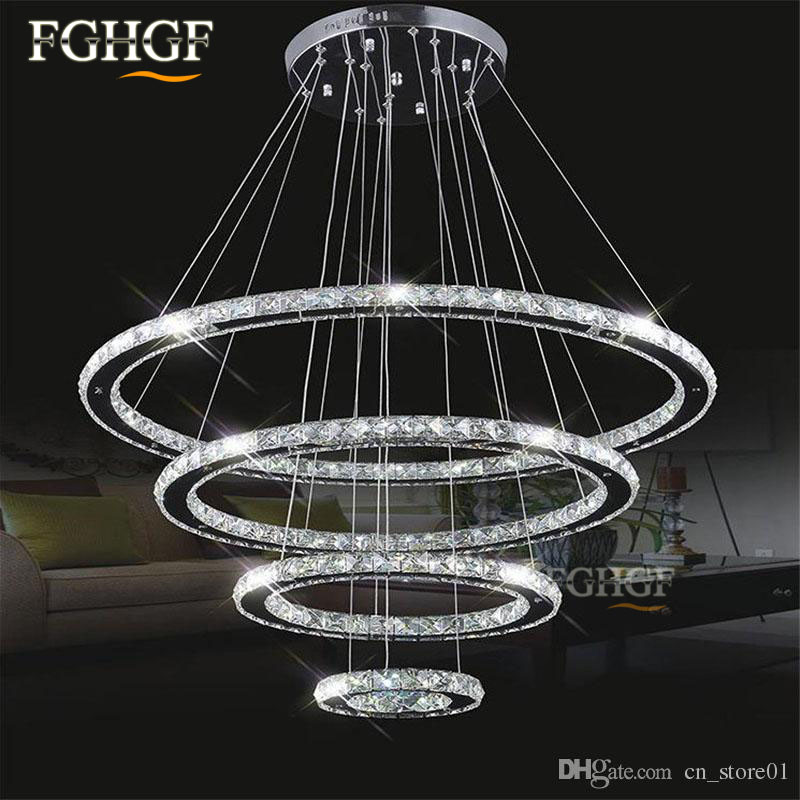 modern crystal chandelier light led diamond ring chandeliers chrome mirror finish stainless steel room hanging lamp led lustres - Modern Crystal Chandeliers