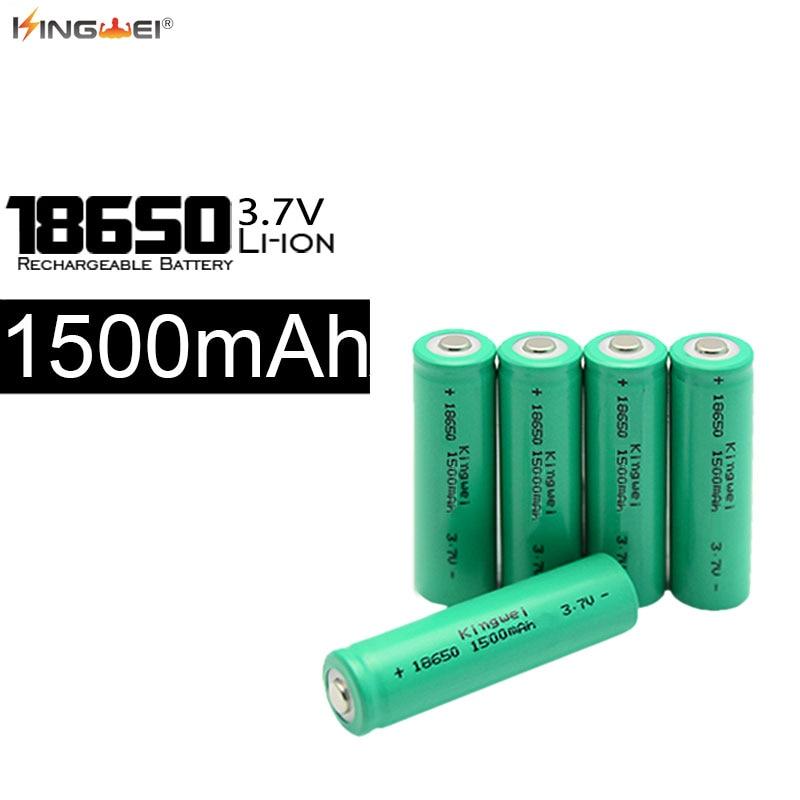 4pcs Kingwei High Capacity 18650 3.7V 1500mah Li-Ion Batteries Rechargeable Batery For Headlamp Flashlight Torch