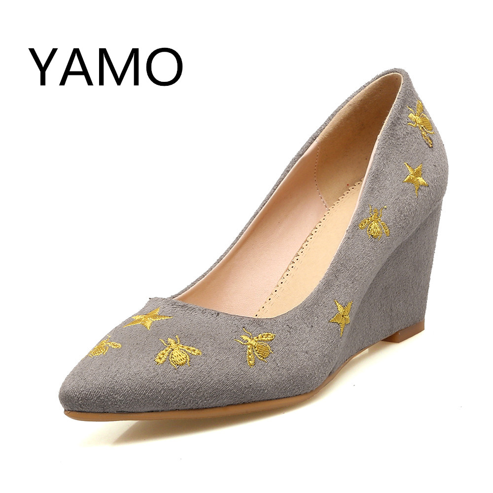 New Women Heels Shoes Pointed Toe Pumps Women Spring Mary Jane Casual Shoes Wedges Heels Flock Sequined Ladies Shoes Plus Size plus size 34 49 new spring summer women wedges shoes pointed toe work shoes women pumps high heels ladies casual dress pumps