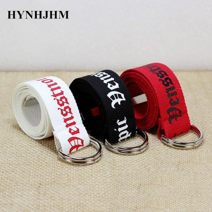 Fashion Women 130cmn Canvas   Belts   Embroidery Letter Printed   Belts   Woven Female Waistbands Long Pant Accessories