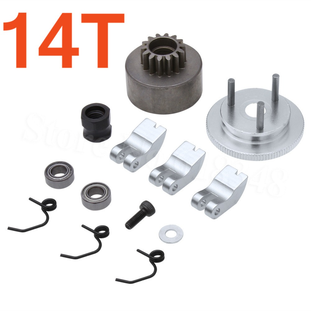RC Clutch Bell 14T Gear Flywheel Assembly with Springs Bearings Shoe Sets For HSP 1:8 Buggy Upgrade Parts 81020 Nitro Engine 14t gear flywheel assembly bearing clutch bell shoes nut springs exhaust pipe tubing for hsp bobao hpi sh truck 1 8 rc car