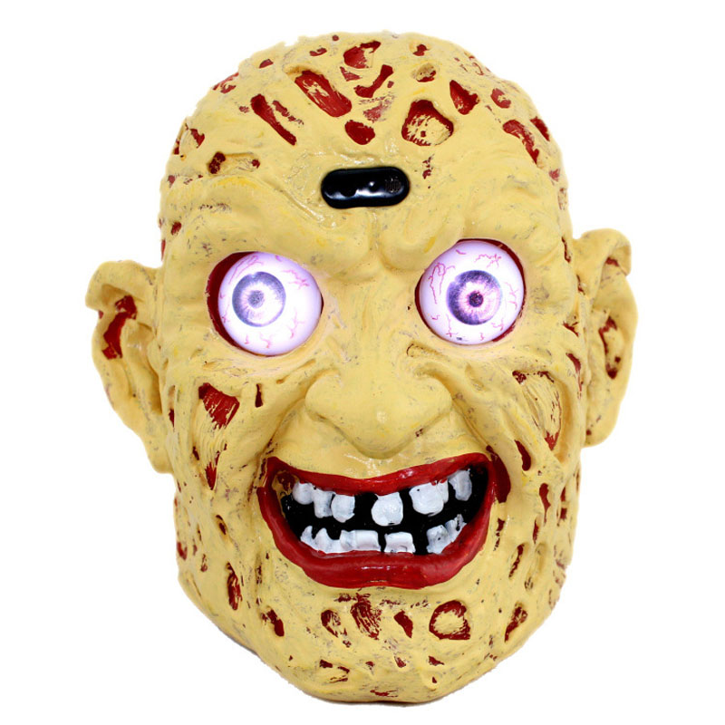 LED Pumpkin Horrible Zombie Ghosts Lights Electric Head Luminous Sound Control Halloween Party Decoration Child Kid