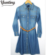 Autumn New In 2018 European Street Trend Jean Shirt Dress Fashion Demin Dress Tunics Women Free Shipping(China)
