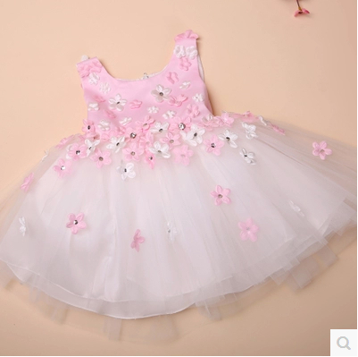 Baby girl dress pink images galleries for Baby pink wedding dress