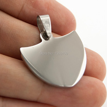 50pcs shield Pendant burnish polished jewelry diy Necklace fittings Pendant for women men stainless steel wholesale