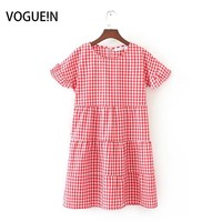 VOGUEIN New Womens Ladies Checks Plaids Print Short Sleeve Red Yellow Green Mini Dress Wholesale