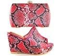 HS16019 2017 Italiano de Zapatos con Bolso A Juego de Color Rojo Las Mujeres de Zapatos y bolso A Juego Zapato y Conjunto de Bolsas para la Fiesta Africana de Mujeres