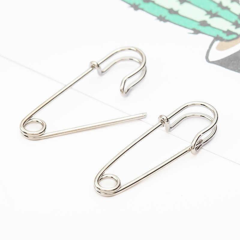 Nueva moda plata negro oro Color geométrico papel Clip forma Punk declaración cristal tachuelas pendientes para Mujeres Hombres fiesta joyería