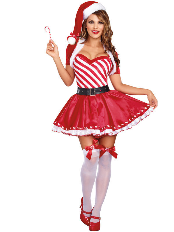 4pc/Set Christmas Santa Claus Women Costume Xmas Striped Dress with Hat and Belt