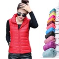 Women 90% duck down Vest Reversible wear Ultra Light Duck Down Stand collar Vest Jacket autumn winter coat  waistcoat