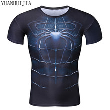 Fitness 3D Spiderman Top 2017 Super Hero T-Shirt Compressed Quick Dry T-Shirt Summer Super Hero Pullover blouse