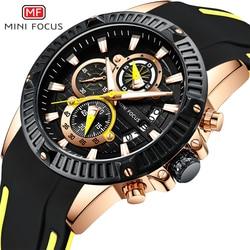 MINIFOCUS reloj para hombre del deporte del cuarzo relojes hombres marca de lujo impermeable correa de silicona reloj militar reloj hombre reloj amarillo