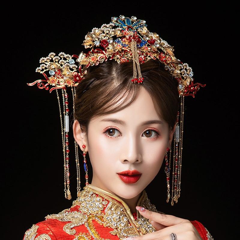 JaneVini luxe chinois rouge Phoenix couronne mariée coiffure boucles d'oreilles anciennes épingles à cheveux or glands mariée mariage cheveux accessoires