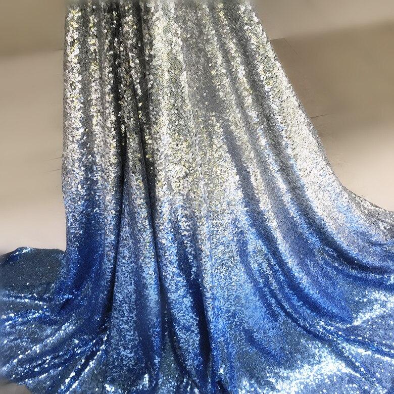 Gradient sequin fabric dark blue sapphire blue black gold gradient sequin fabric dress fabric