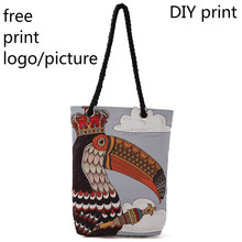 Canvas bag logo photo customized handbag canvas pattern picture print cloth tote women advertising students