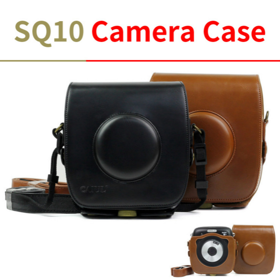 For FUJIFILM Instax SQUARE SQ10 Camera Bag Vintage PU Leather Case Instant Shoulder Bag With Strap