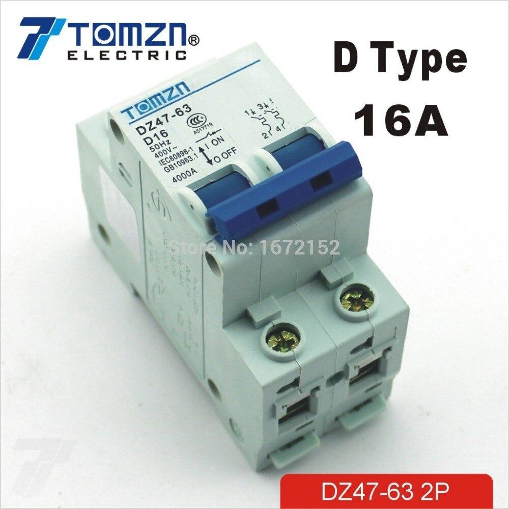 2P 16A D type 240V/415V 50HZ/60HZ Circuit breaker MCB safety breaker ...