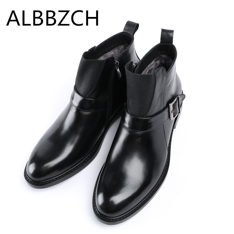 New arrival natural cow leather men winter boots super warm mens snow boots shoes fashion buckle luxury brand desing ankle boots